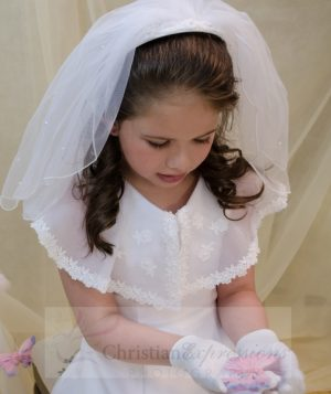 First Communion Headband Veil with Pearls and Organza