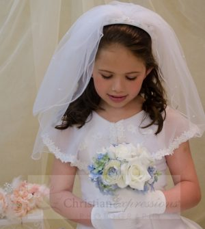 First Communion Headband Veils with Scattered Pearls and Roses