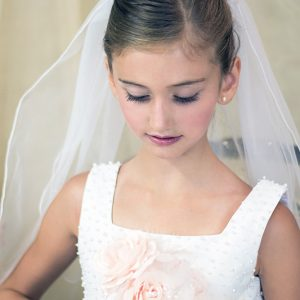 First Communion Pearl and Crystals Wire Crown and Veil