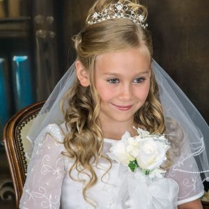 First Communion Tiara Crown with Clustered Pearls