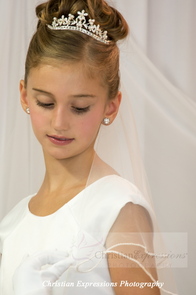 First Communion Veil with Pearl Edge Trim