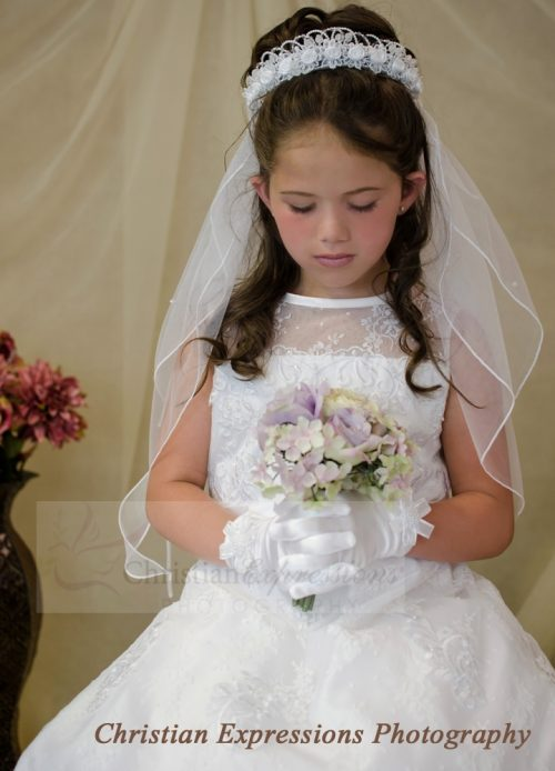 First Communion Wreath Crown Headpiece Satin Rosettes Pearls Attached Veil