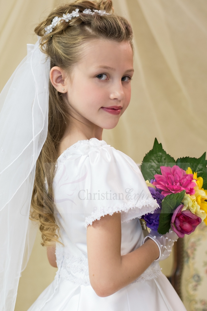 First Communion Wreath Veil Small Flowers Pearl Accents