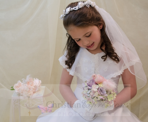 First Communion Wreath Veils Satin Flowers