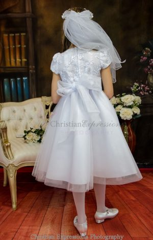 First Holy Communion Dress with Embroidered Bodice
