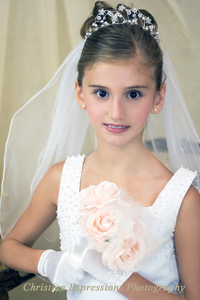 First Holy Communion Pearl and Crystals Wire Crown and Veil