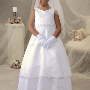 First communion dress satin and pearls