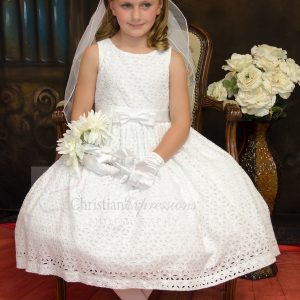 Girls Cotton Eyelet First Communion Dresses