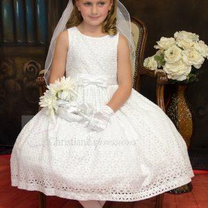 Girls Cotton Eyelet First Communion Dresses
