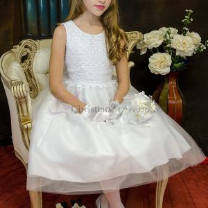Girls Crochet Bodice First Communion Dress