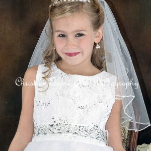Girls First Communion Crown Tiara Crystals Flower Center