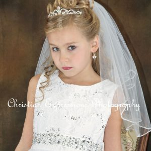 Girls First Communion Crown Tiara with Daisy
