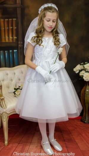 Girls First Communion Dress with Embroidered Bodice