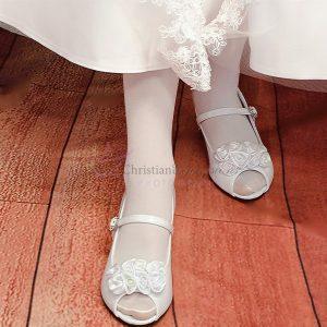Girls First Communion Shoes Satin Flower