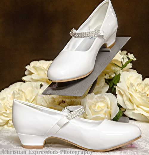 Girls First Communion Shoes with Rhinestone Strap