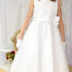 Girls First Holy Communion Dress Pearl Beading on Organza Size 7