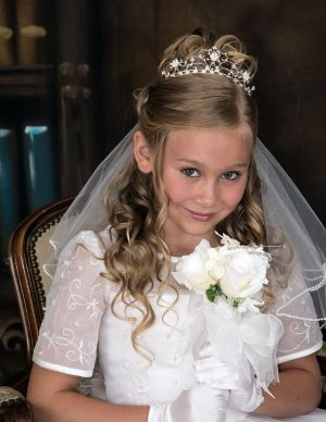 Girls First Holy Communion Tiara Crown with Clustered Pearls