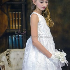 Girls Floral Lace Tea Length First Communion Dress Size 10