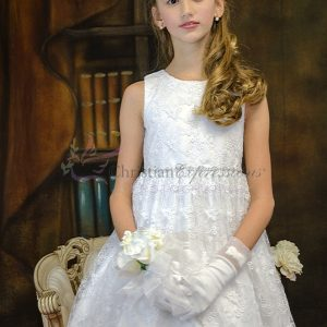 Girls Floral Lace Tea Length First Communion Dress Size 6