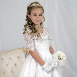 Girls Lace Bodice First Communion Dresses