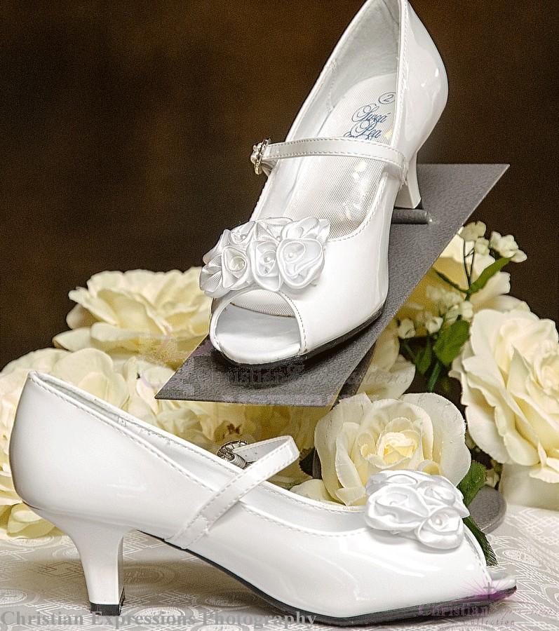Girls Open Toe First Communion Shoes Satin Flower