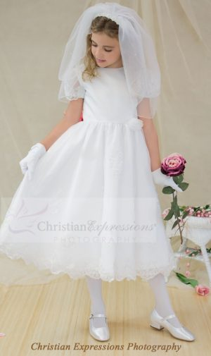 Girls Satin organza overlay first communion dress with sheer sleeves with appliques