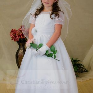 Girls Short Sleeves Organza White First Communion Dress Sze 6