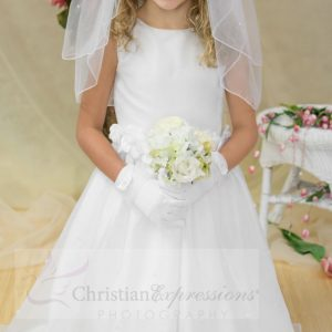 Girls White First Communion Dress Tulip Skirt