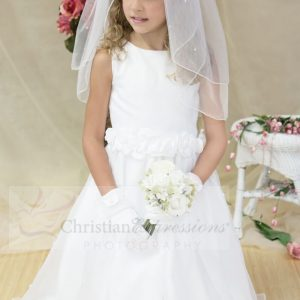 Girls White First Communion Dress with Pearls Size 7