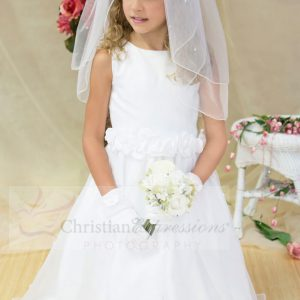 Girls White First Communion Dress with Pearls Size 8