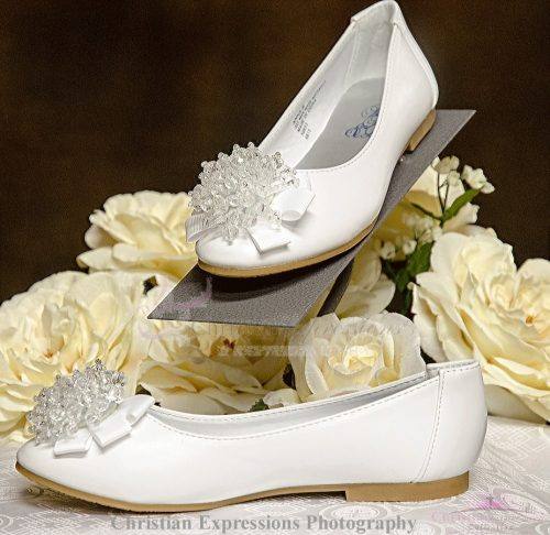 Girls White First Communion Shoes Flats