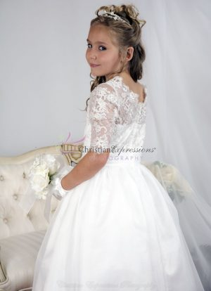 Lace Bodice Gold Threads First Communion Dress