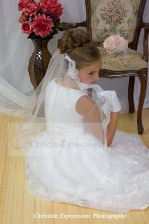 Lace First Holy Communion Mantilla Long Length