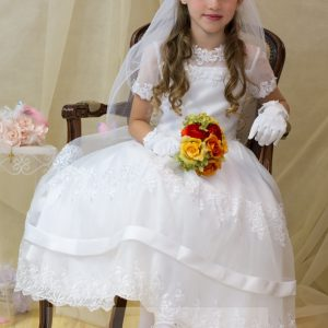 Lace Organza White First Communion Dress for Girls