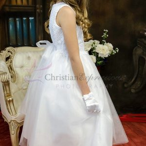 Modern First Communion Dress with Crochet Bodice
