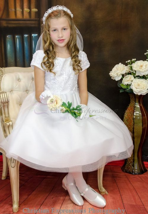 Modern First Communion Dress with Embroidered Bodice