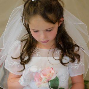 Modern Short Sleeves Organza White First Communion Dress Sze 6