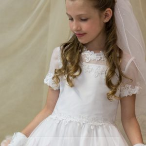 Organza Lace Short Sleeves First Holy Communion Dress