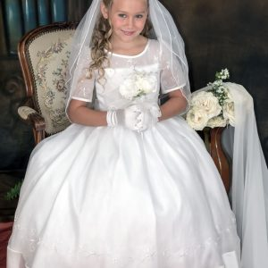 Organza Long Length Embroidered First Communion Dress