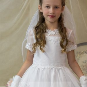 Organza Satin Lace Girls White First Communion Dress