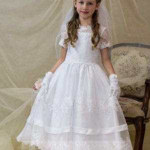 Organza Satin Lace White First Communion Dress