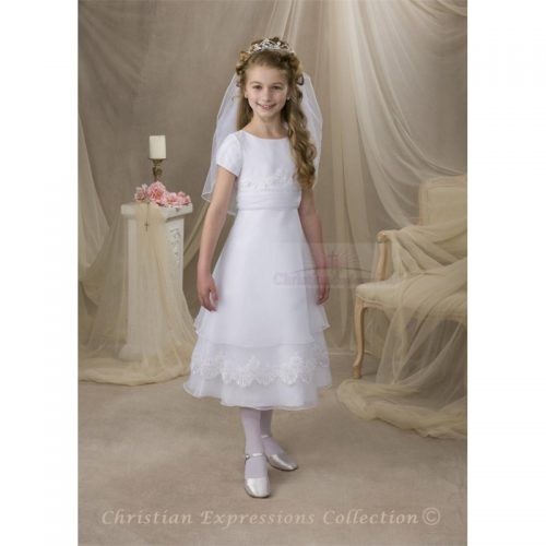 Organza first communion dress with layered skirt