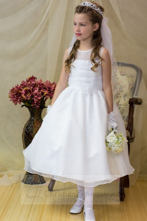 Organza tea Length First Communion Dress Illusion Neckline