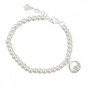 Pearl Bracelet with Irish Claddagh Charm