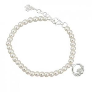 Pearl Bracelet with Irish Claddagh Charm