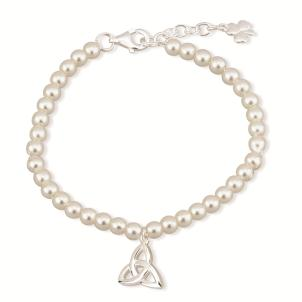 Pearl Bracelet with Irish Trinity Knot Charm