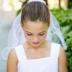 Pearl Bun Wrap First Communion Veil