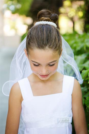 Pearl Bun Wrap First Communion Veil