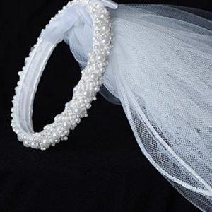 Pearl Bun Wrap Headpiece First Communion Veil
