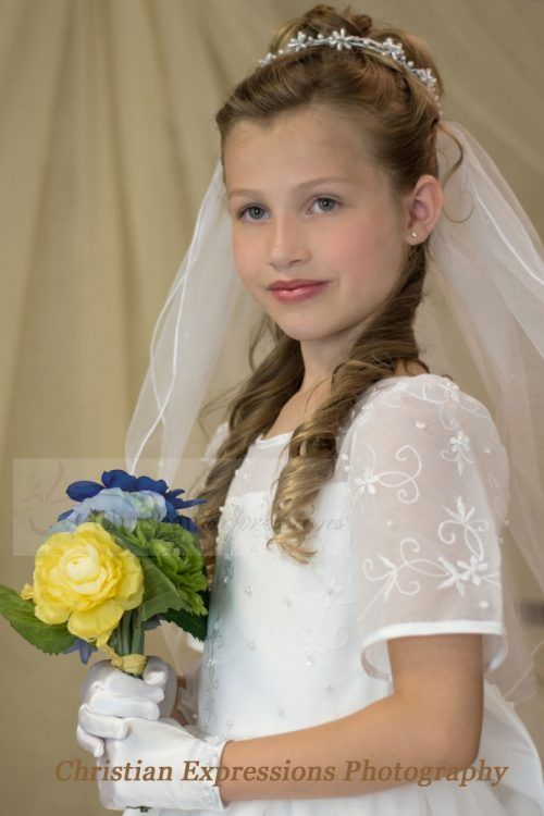 Pearl Clusters First Communion Headpiece and Veils